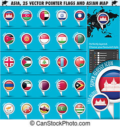 Asia Map and flags Pointer Icons set2 - Asia Map and flags ...