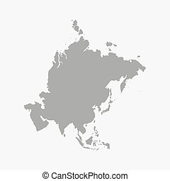 Asia map in gray on a white background