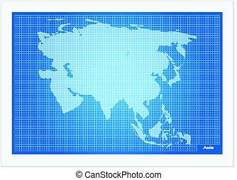 Asia map on blueprint