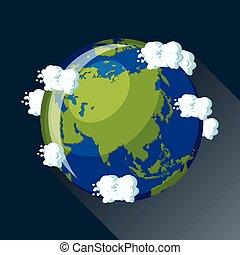 Asia globe icon.