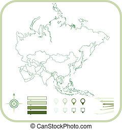 Asia Map, Vector illustration.