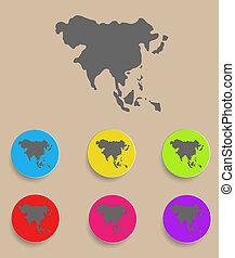 asia, mappa, -, icona, isolated., vettore