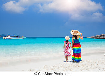 Asia mother and her daughter in Tropical beach, Similan...