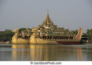 asia, myanmar, yangon, kandawgyi, see, gasthaus, karaweik
