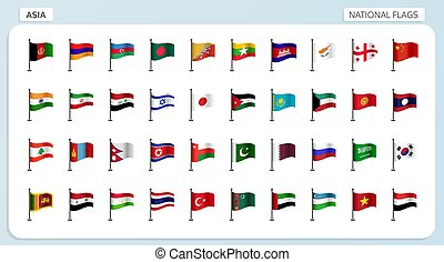 Asia national flags