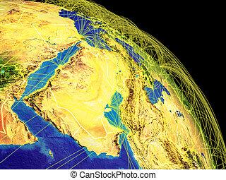 asia occidental, de, espacio