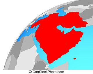 asia occidental, en, globo