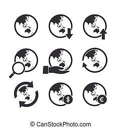 asia, oceania, mappa mondo, icone, set.