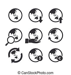 Asia Oceania world map icons set.