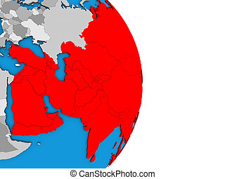 Asia on 3D globe