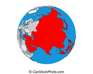 Asia on 3D globe isolated