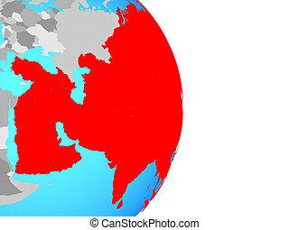 Asia on globe