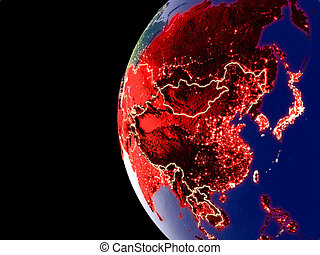 Asia on globe from space