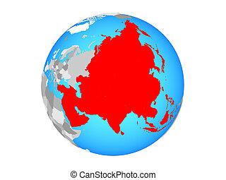 Asia on globe isolated