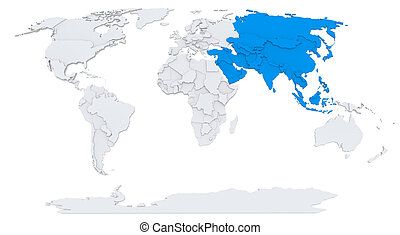 Asia on map of the world