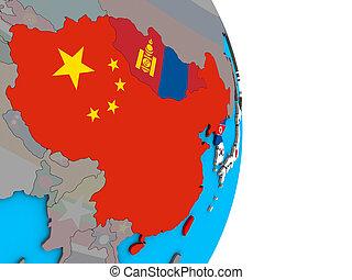asia orientale, con, bandiere, su, 3d, globo