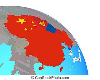 asia orientale, con, bandiere, su, globo