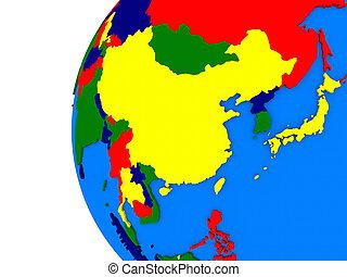 asia orientale, regione, su, politico, globo