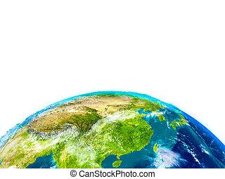 asia orientale, su, fisico, globo