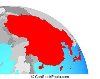 asia orientale, su, globo