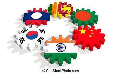 Asia-Pacific Trade Agreement members flags on gears -...