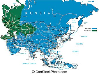 Asia road map - Highly detailed vector map of Asia with...