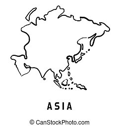 Asia simplified map - Asia simple map outline - smooth ...