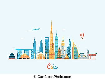Asia skyline. Travel and tourism background. - Vector...