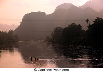 ASIA SOUTHEASTASIA LAOS KHAMMUAN REGION - the landscape on...