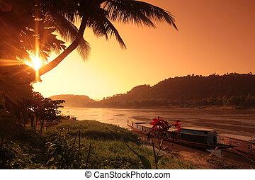 ASIA SOUTHEASTASIA LAOS LUANG PRABANG - a transport ferry...