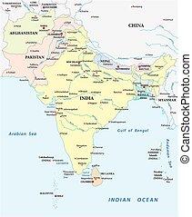 asia, städte, vektor, süden, größten, ausführlich, landkarte