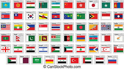 asia stamps complete collection against white background, abstract vector art illusration