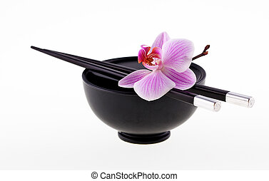 Asia still life orchid - asia still life with orchid on...