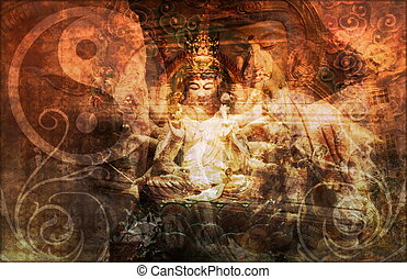Asia Abstract Art Buddha as a Background
