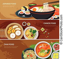 asia street food web banner , thai food , japanese food ,...