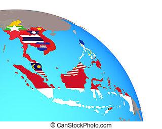 asia sud-orientale, con, bandiere, su, globo