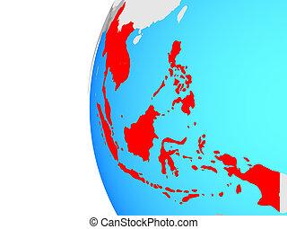 asia sud-orientale, su, globo