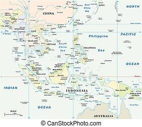 asia suroriental, vector, mapa, con, coordina, y, escala