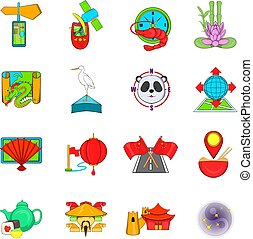 Asia travel icons set, cartoon style