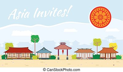 Asia travel vector background