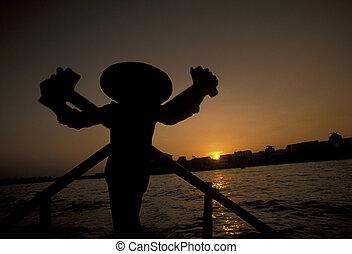 ASIA VIETNAM MEKONG DELTA TRANSPORT - a smal wood Boat on...