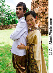Asia Wedding couple in Thai suit