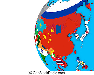 Asia with flags on 3D globe