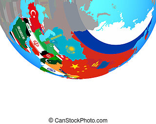 Asia with flags on globe