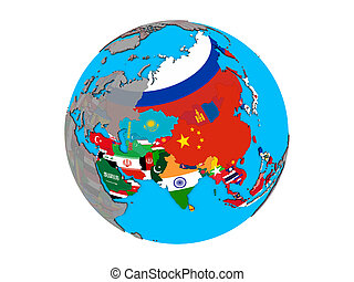 Asia with flags on globe isolated
