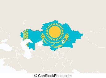 World map with highlighted china simlified political vector asia with highlighted kazakhstan map gumiabroncs Image collections