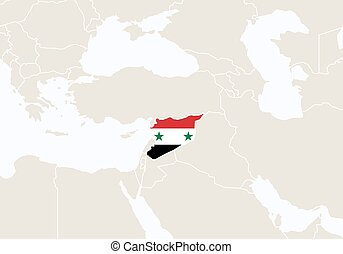 World map with highlighted syria simlified political vector asia with highlighted syria map gumiabroncs Choice Image