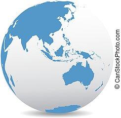 asia, y, australia, global, mundo