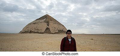 asian アーキテクチャ, 曲がった, 観光客, エジプト, 旅行, ピラミッド, 目的地, 旅行, saqqara
