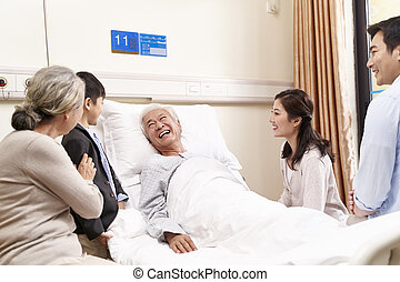 asian accoppiano, nonno, visitare, nonna, figlio, ospedale